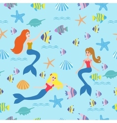 Seamless background with mermaids fish vector