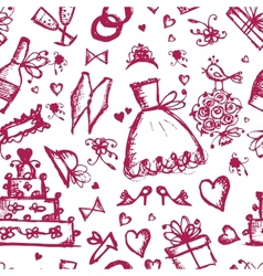 Seamless pattern with wedding design elements vector image vector image