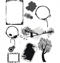 set of grunge elements vector image