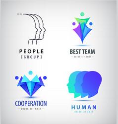 set of human men logos creative group vector image