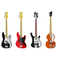 Set of isolated vintage bass guitars vector