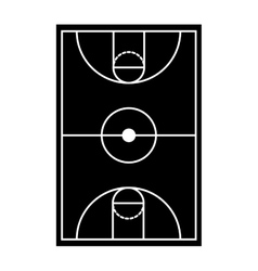 silhouette monochrome with basketball field vector image