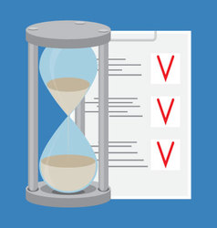 Time management To-do list and hourglass vector image