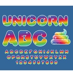 Unicorn ABC Rainbow font Multicolored letters vector image vector image