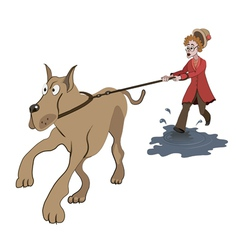 woman trying to walk with big dog vector image