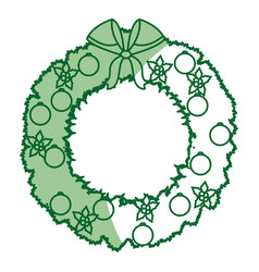Wreath crown christmas decoration celebration vector