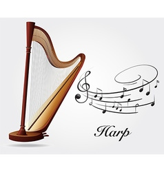 Harp and music notes vector