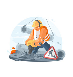 Road worker with puncher vector