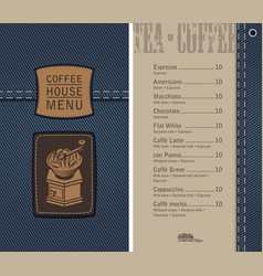 coffee house menu on denim background with price vector image