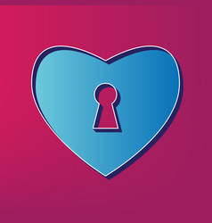 Heart with lock sign  blue 3d printed icon vector