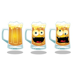 Normal and funny glasses of beer vector
