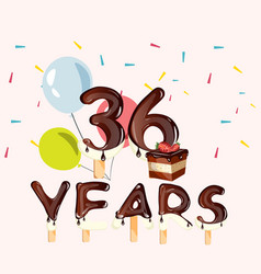 36 years anniversary celebration card vector image