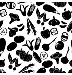 Simple black vegetables icons seamless pattern vector