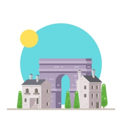 Flat design of arc de triomphe france with village vector