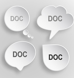 Doc white flat buttons on gray background vector