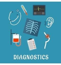 Diagnostics and medical test flat icons vector