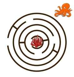 Game labyrinth find a way octopus vector