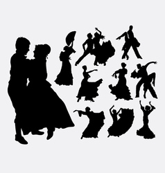 Traditional dance male and female silhouette vector