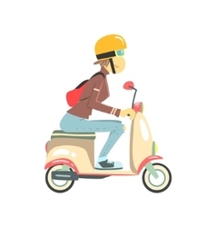 Women riding pink girly scooter vector