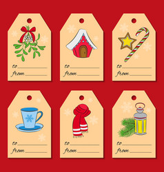 A set of six christmas or new year tags with vector