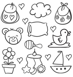 Art of baby theme doodles vector