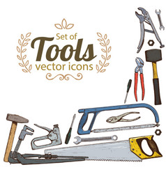 corner frame of repair tools icons vector image
