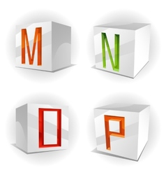 cube alphabet letters MNOP vector image