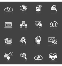 Database analytics icons black and white vector image