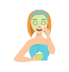 Girl applying natural cucumber cream facial mask vector