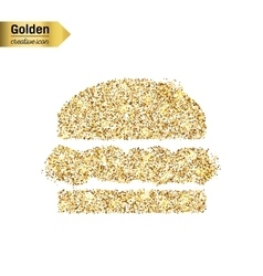 Gold glitter icon of hamburger isolated on vector
