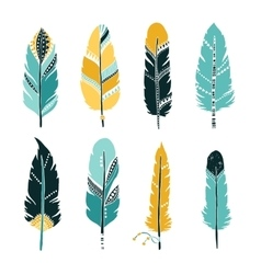 Hand drawn set of feathers vector