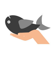 Hand with fish vector
