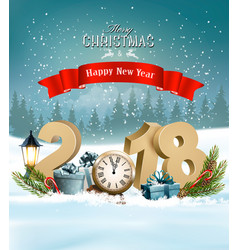 happy new year 2018 background with presents and vector image
