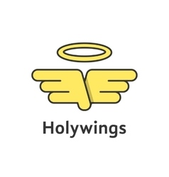 holy wings with yellow outline emblem vector image