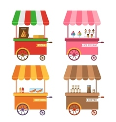 Ice cream pink cart icon isolated ice vector image vector image