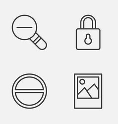 Internet icons set collection of zoom out refuse vector