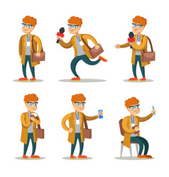 Journalist cartoon character set vector