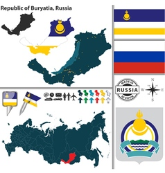 Map of Republic of Buryatia vector image