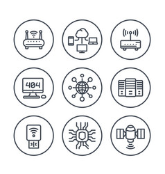 Network internet data technology line icons vector
