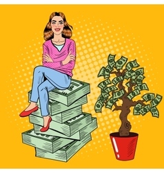Pop art rich woman sitting on a stack of money vector