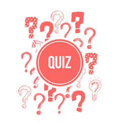quiz banner design with pink hand drawn question vector image vector image