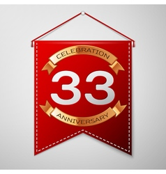 Red pennant with inscription thirty three years vector
