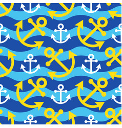 Seamless waves - white yellow anchor vector