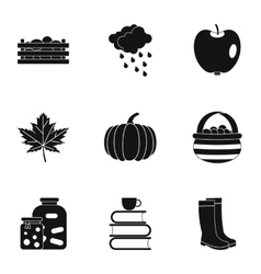 Season of year autumn icons set simple style vector
