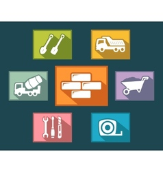set construction icons on flat design style vector image vector image