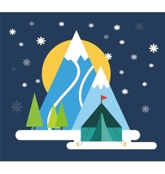 Ski resort mountains tracks building winter vector image