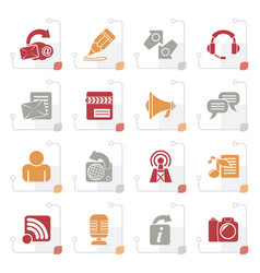 stylized blogging communication social network vector image vector image