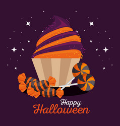 sweet candy happy halloween vector image