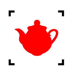 tea maker kitchen sign red icon inside vector image vector image