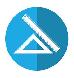 Triangle ruler measuring school shadow vector